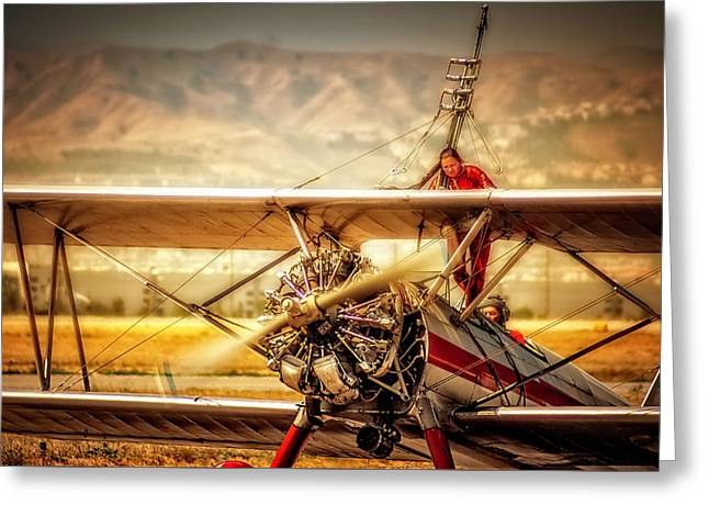 Greeting Card featuring the photograph Wing Walker by Steve Benefiel