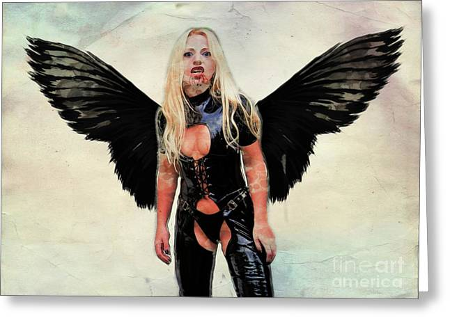 Winged Avenger By Mary Bassett Greeting Card