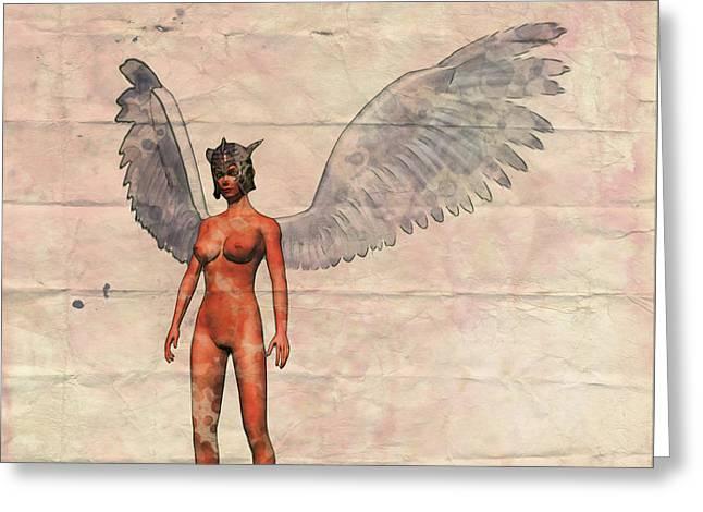 Winged Avenger Mark 1, Pop Art By Mary Bassett Greeting Card