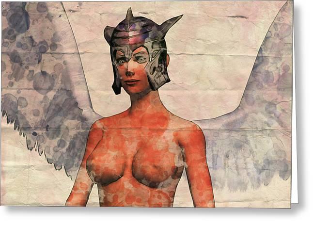 Winged Avenger Mark 2, Pop Art By Mary Bassett Greeting Card