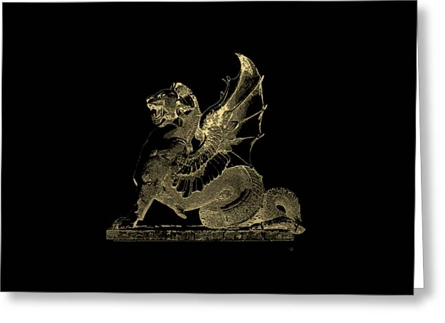Winged Dragon Chimera From Fontaine Saint-michel, Paris In Gold On Black Greeting Card by Serge Averbukh