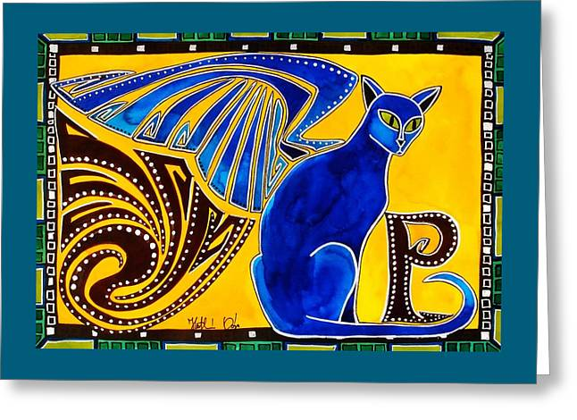 Winged Feline - Cat Art With Letter P By Dora Hathazi Mendes Greeting Card