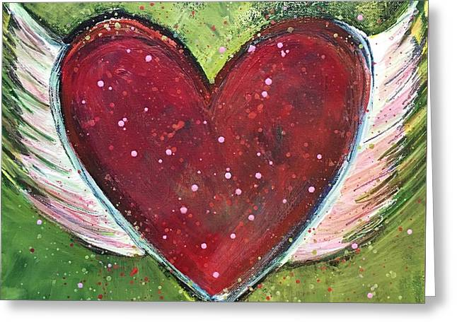 Greeting Card featuring the painting Winged Heart Number 1 by Laurie Maves ART