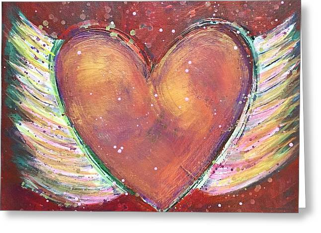 Greeting Card featuring the painting Winged Heart Number 2 by Laurie Maves ART