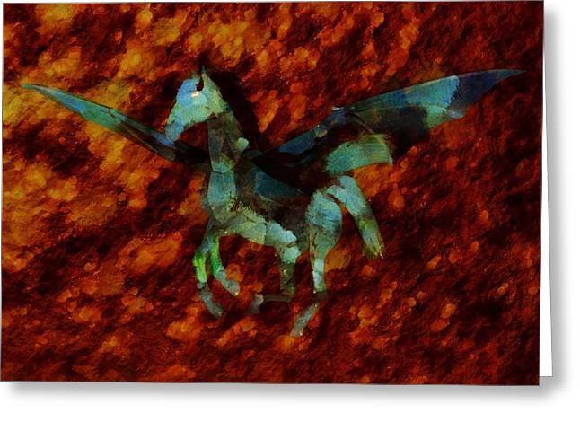 Winged Horse By Sarah Kirk Greeting Card