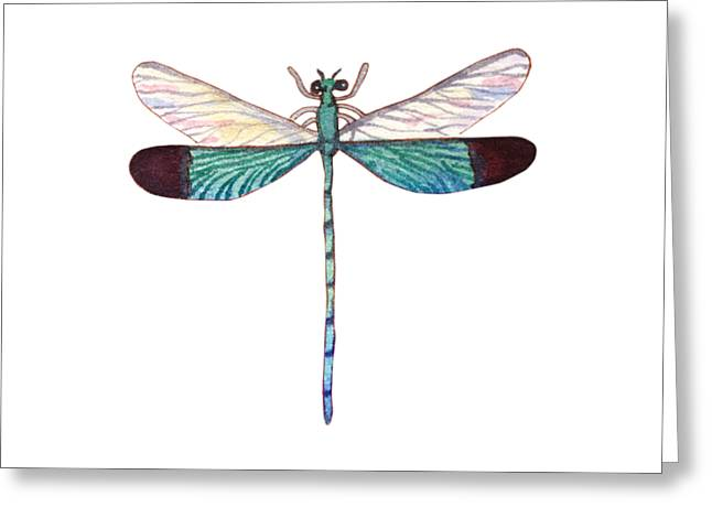 Greeting Card featuring the painting Winged Jewels 1, Watercolor Tropical Dragonfly Aqua Blue Black by Audrey Jeanne Roberts