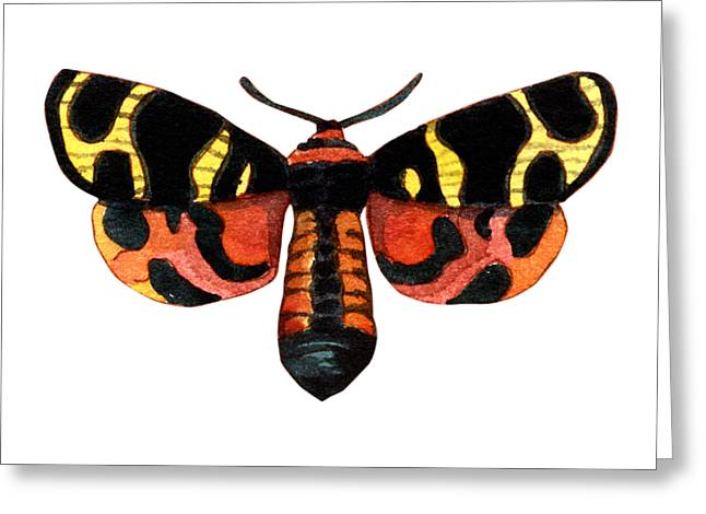 Greeting Card featuring the painting Winged Jewels 5, Watercolor Moth Black Yellow Orange And Red Tropical by Audrey Jeanne Roberts