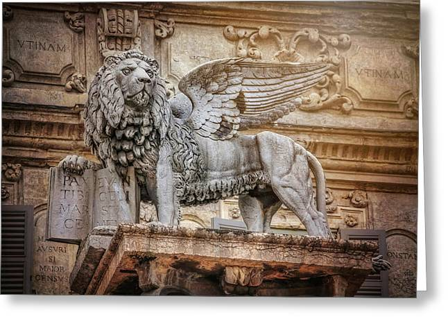Winged Lion Piazza Delle Erbe Verona  Greeting Card
