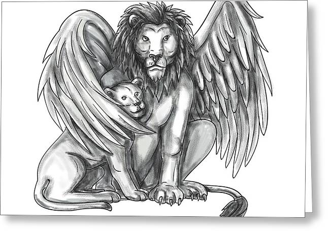Winged Lion Protecting Cub Tattoo Greeting Card by Aloysius Patrimonio