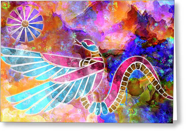 Winged Serpent - Ancient Egyptian Vintage Illustration Greeting Card by Rayanda Arts