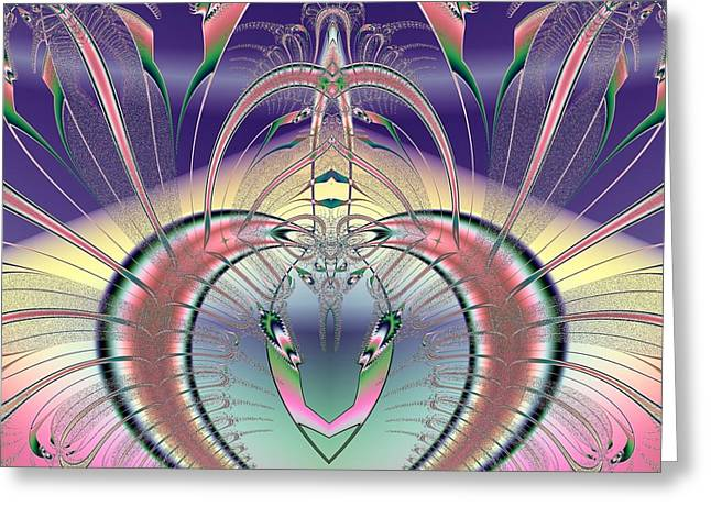 Winged Soul Flying Heavenward Fractal Greeting Card by Rose Santuci-Sofranko