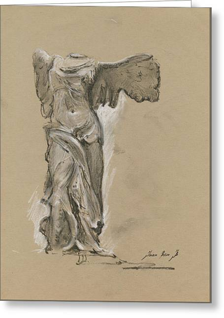 Winged Vicory Of Samothrace Greeting Card by Juan Bosco
