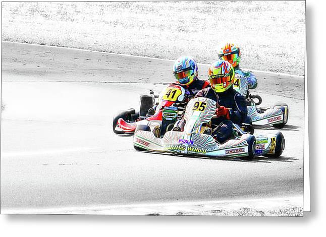 Wingham Go Karts 04 Greeting Card by Kevin Chippindall