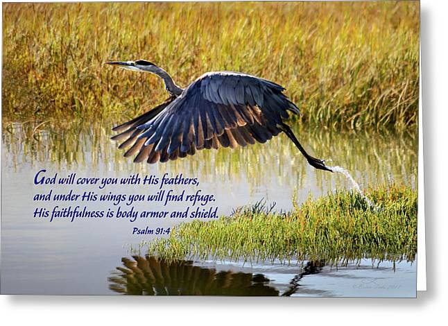 Wings Of Refuge With Scripture Greeting Card