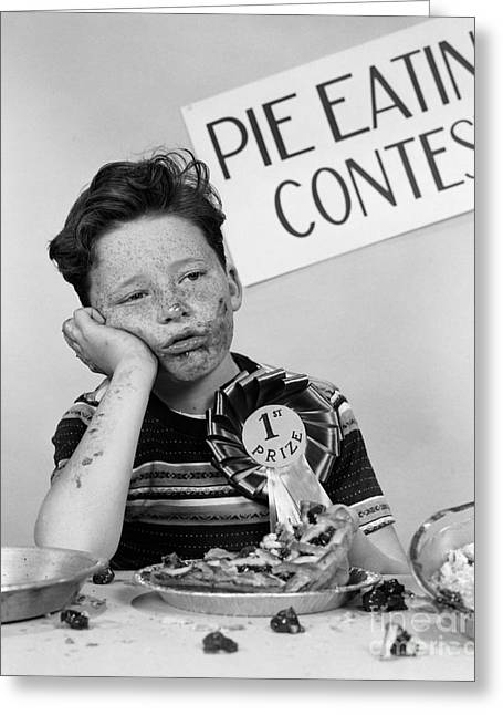 Winner Of Pie-eating Contest, C.1950s Greeting Card