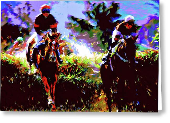 Winners Of The Horse Race Expressionism Greeting Card by Georgiana Romanovna