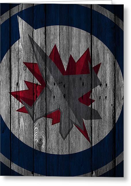 Winnipeg Jets Wood Fence Greeting Card