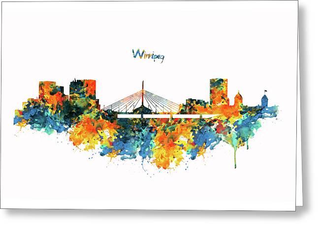 Winnipeg Skyline Greeting Card by Marian Voicu