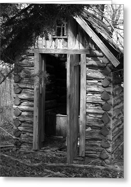 Winslow Log Outhouse Greeting Card by Curtis J Neeley Jr