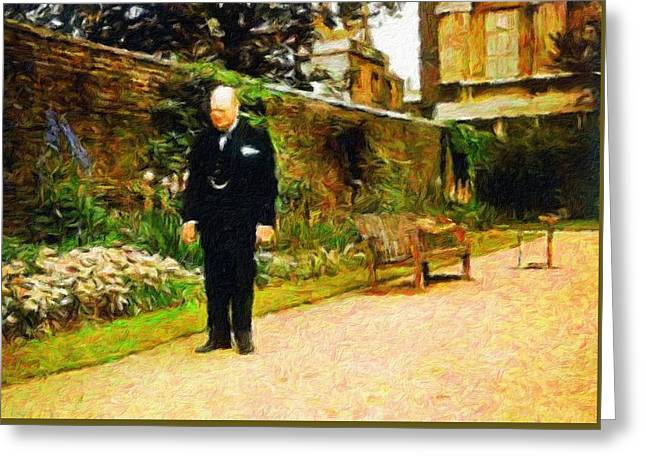 Winston Churchill, 1943 Greeting Card by Vincent Monozlay