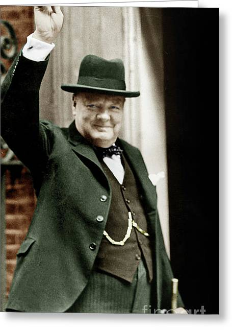 Winston Churchill, English Prime Minister, Making The Victory Gesture In Front Of 10 Downing Street  Greeting Card