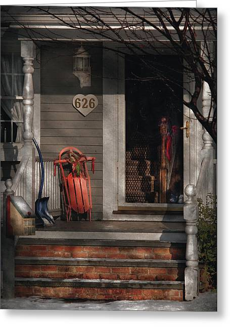 Winter - Rosebud And Shovel Greeting Card by Mike Savad
