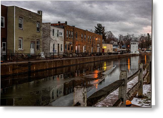 Winter Along The Canal Greeting Card by Everet Regal