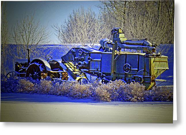 Lugs Greeting Cards - Winter Antique Tractor and Combine Greeting Card by Al Bourassa
