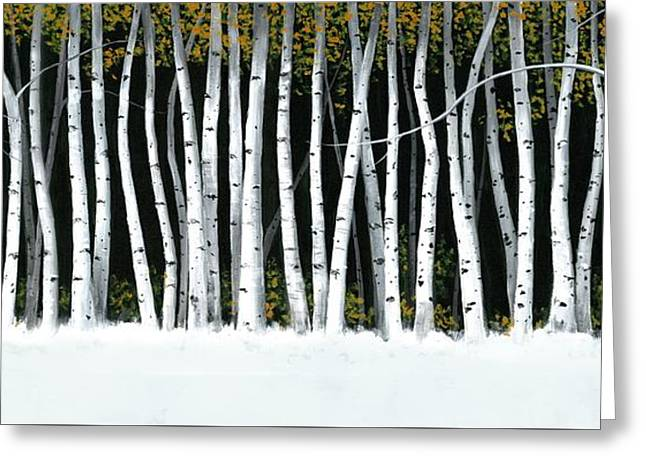 Greeting Card featuring the painting Winter Aspens II by Michael Swanson