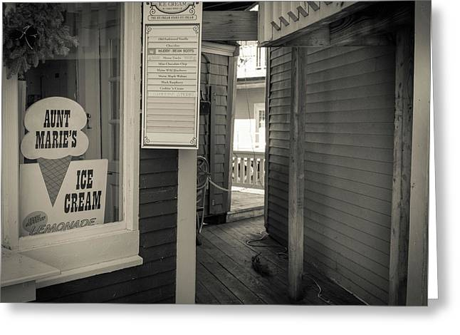 Winter At Aunt Marie's Ice Cream Stand Greeting Card