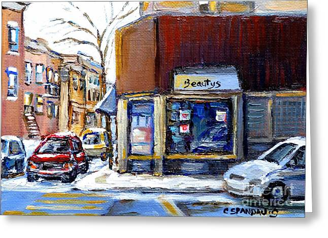 Winter At Beauty's Restaurant City Scene Landmark Paintings Montreal Memories Exceptional Canada Art Greeting Card by Carole Spandau