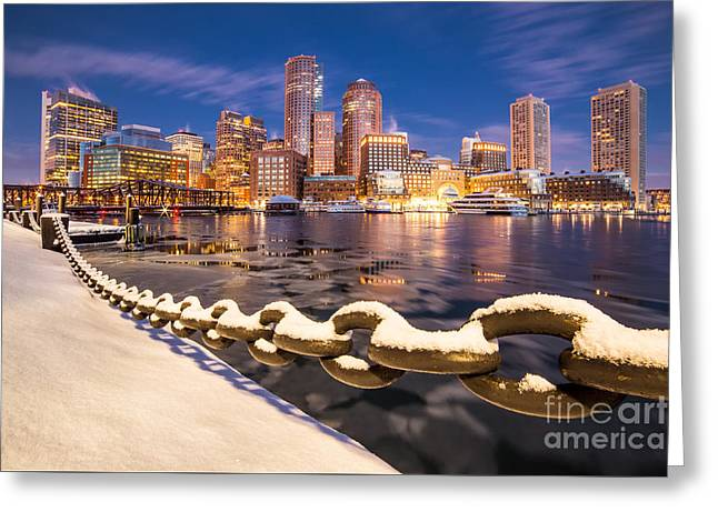 Winter At Boston Fan Pier Greeting Card by Benjamin Williamson
