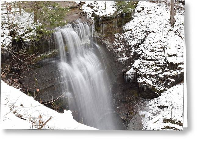 Winter At Buttermilk Falls Greeting Card by Allen Gray