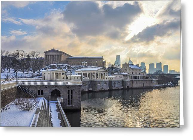 Winter At Fairmount Waterworks In Philadelphia Greeting Card