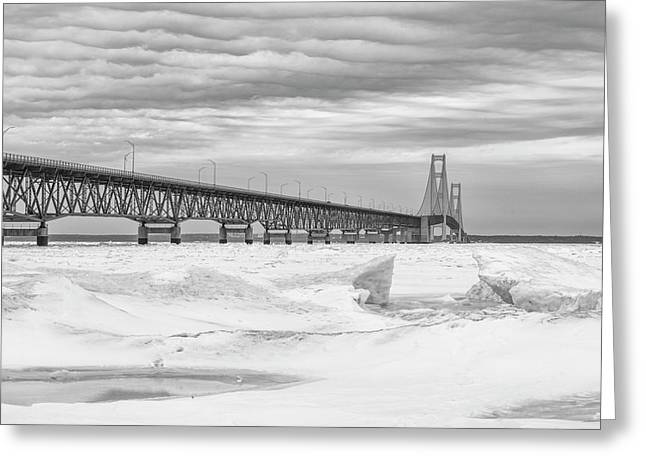 Greeting Card featuring the photograph Winter At Mackinac Bridge by John McGraw