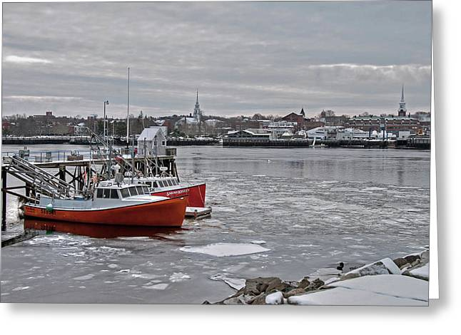 Winter At Newburyport Harbor Greeting Card