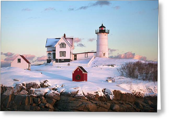 Winter At Nubble Greeting Card by Eric Gendron