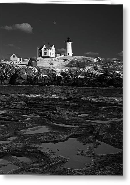 Winter At Nubble Lighthouse Bw Greeting Card