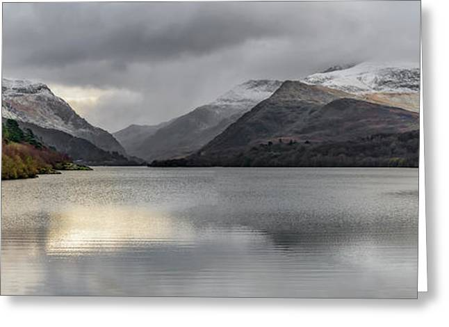 Winter At Padarn Lake Snowdonia Greeting Card
