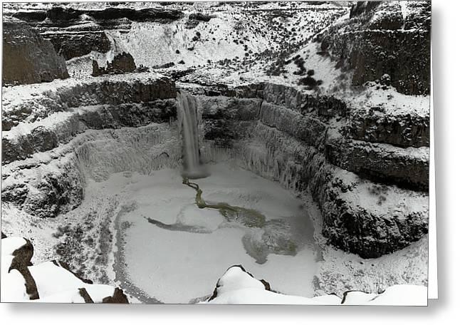 Winter At Palouse Falls Greeting Card by Jeff Swan