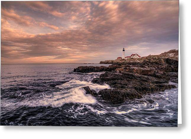 Winter At Portland Head Light Greeting Card