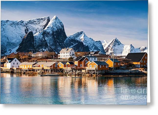 Winter At Sakrisoy Village On The Lofoten Islands Greeting Card