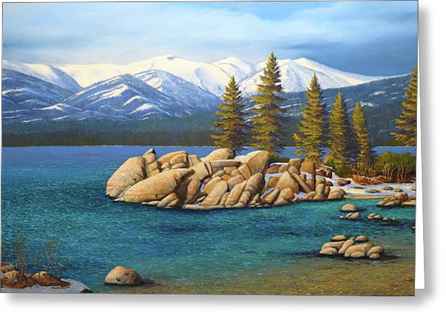 Winter At Sand Harbor Lake Tahoe Greeting Card