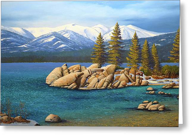 Winter At Sand Harbor Lake Tahoe Greeting Card