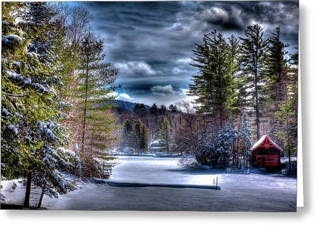 Greeting Card featuring the photograph Winter At The Boathouse by David Patterson