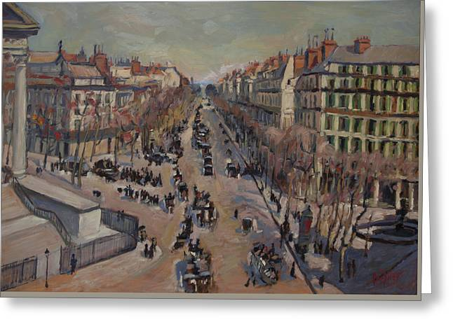 Winter At The Boulevard De La Madeleine, Paris Greeting Card
