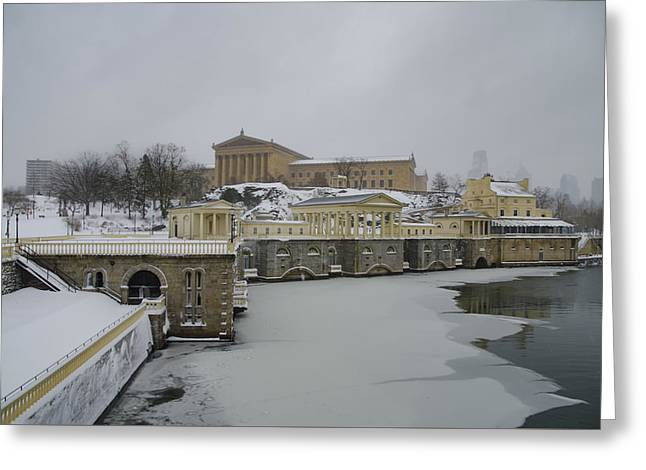 Winter At The Fairmount Waterworks In Philadelphia Greeting Card