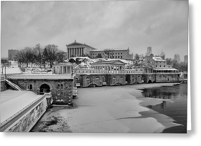 Winter At The Fairmount Waterworks In Philadelphia In Black And  Greeting Card by Bill Cannon