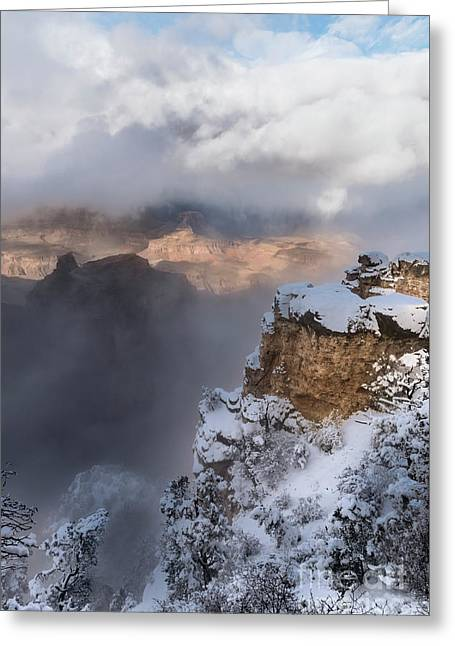 Winter At The Grand  Canyon Greeting Card by Sandra Bronstein
