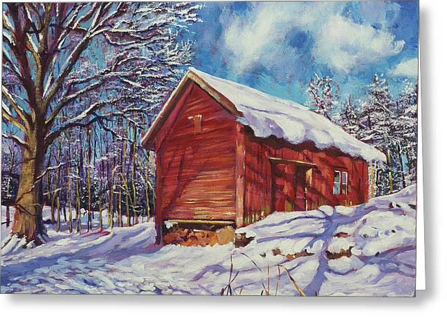 Winter At The Old Barn Greeting Card by David Lloyd Glover